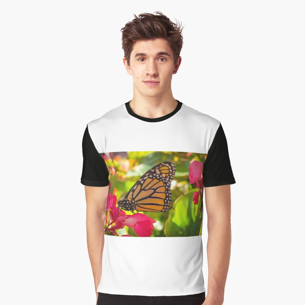 Closeup Monarch Butterfly Graphic T-Shirt Front