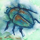 Watercolor Japanese Beetle by thedelicion