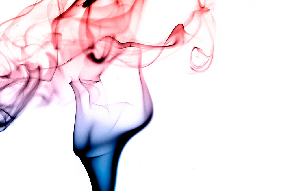 Red and Blue Smoke Abstract by alphotos