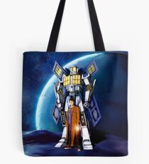10th Doctor with Robot Phone booth Tote Bag