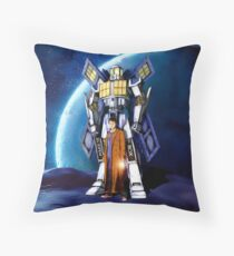 10th Doctor with Robot Phone booth Throw Pillow