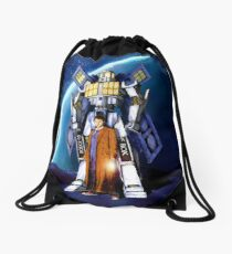 10th Doctor with Robot Phone booth Drawstring Bag