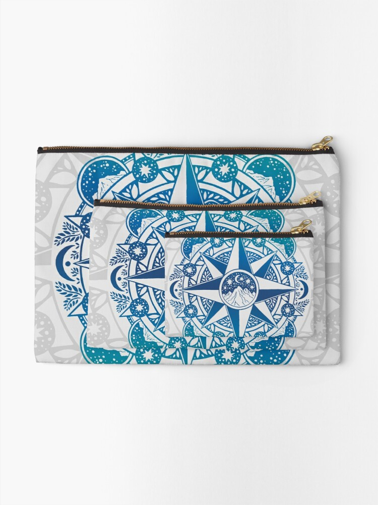 Alternate view of Journey to Moon Mountain | Turquoise Navy Ombré Zipper Pouch