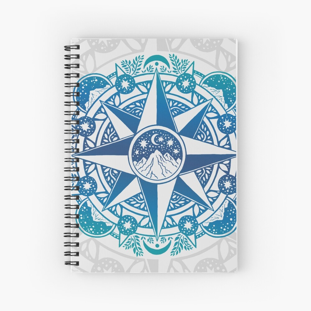 Journey to Moon Mountain | Turquoise Navy Ombré Spiral Notebook
