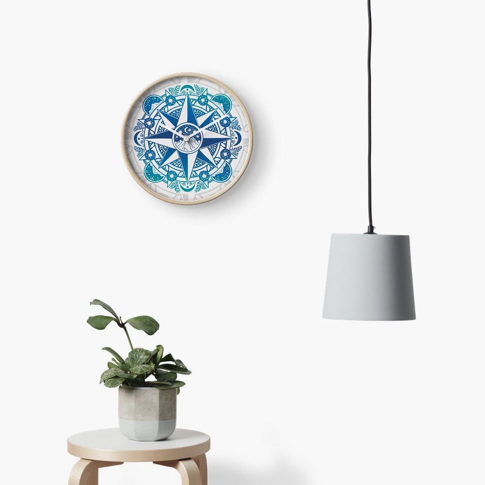 Journey to Moon Mountain | Turquoise Navy Ombré Clock