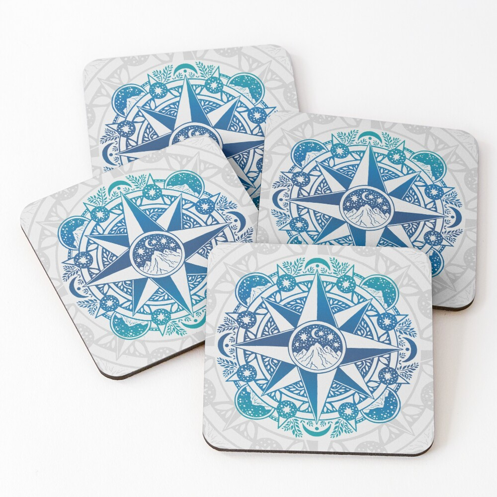 Journey to Moon Mountain | Turquoise Navy Ombré Coasters (Set of 4)