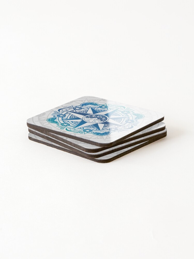 Alternate view of Journey to Moon Mountain | Turquoise Navy Ombré Coasters (Set of 4)