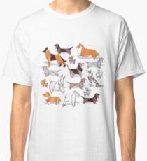 Origami Hündchenfreunde / / grau Leinen Textur Hintergrund Classic T-Shirt