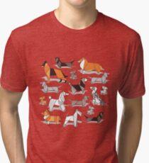 Origami doggie friends // grey linen texture background Tri-blend T-Shirt