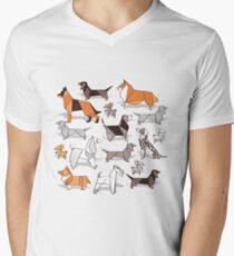 Origami doggie friends // grey linen texture background Men's V-Neck T-Shirt