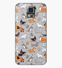 Origami Hündchenfreunde / / grau Leinen Textur Hintergrund Hülle & Klebefolie für Samsung Galaxy