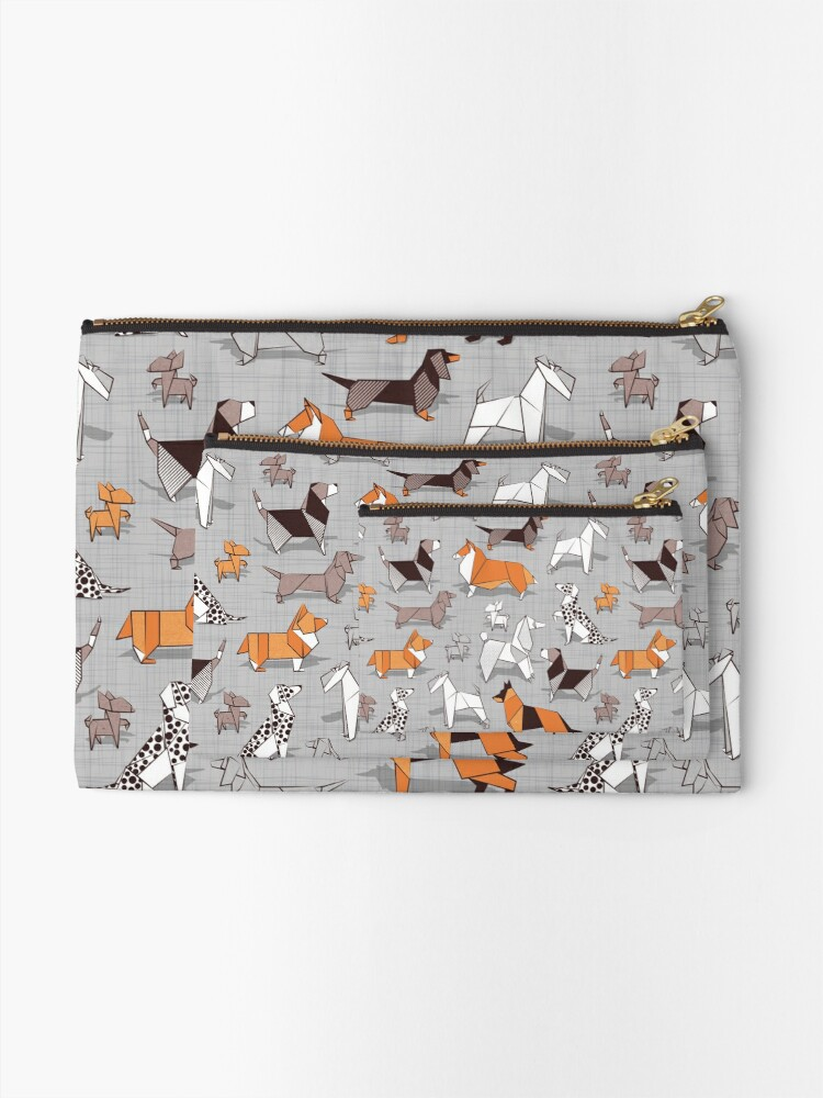 Alternate view of Origami doggie friends // grey linen texture background Zipper Pouch
