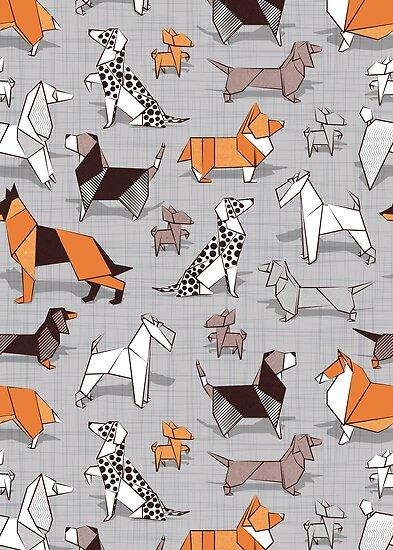Origami Hündchenfreunde / / grau Leinen Textur Hintergrund von SelmaCardoso