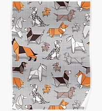 Origami doggie friends // grey linen texture background Poster