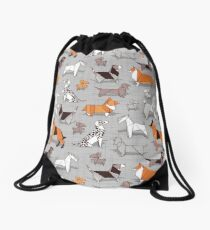 Origami doggie friends // grey linen texture background Drawstring Bag