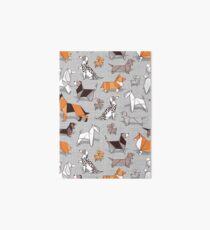 Origami doggie friends // grey linen texture background Art Board