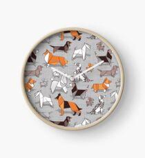 Origami doggie friends // grey linen texture background Clock