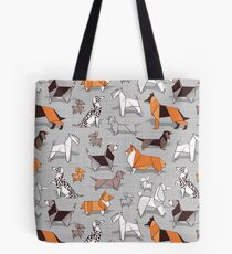 Origami doggie friends // grey linen texture background Tote Bag