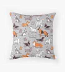 Origami doggie friends // grey linen texture background Floor Pillow