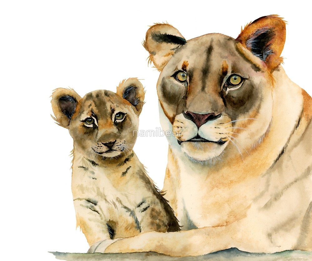 Motherhood   Mother Lion and Cub Watercolor Painting by namibear