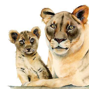 Motherhood | Mother Lion and Cub Watercolor Painting by namibear