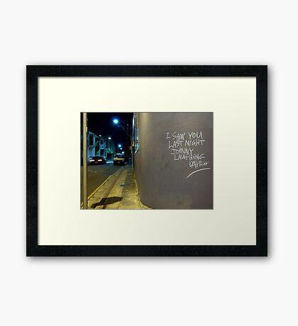 Johnny's Laughter Framed Print