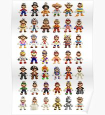 Super Mario Odyssey All Outfits Xtra Large for Individual Stickers Poster