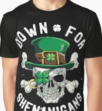 Down for Shenanigans T shirt St Patricks Day Funny Skull Tee Graphic T-Shirt
