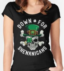 Down for Shenanigans T shirt St Patricks Day Funny Skull Tee Women's Fitted Scoop T-Shirt