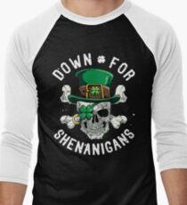 Down for Shenanigans T shirt St Patricks Day Funny Skull Tee Men's Baseball ¾ T-Shirt