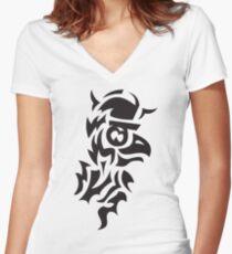 bird viking tattoo Women's Fitted V-Neck T-Shirt