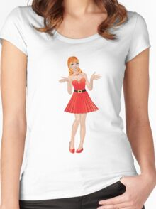 Girl in red dress 2 Women's Fitted Scoop T-Shirt