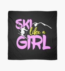 Ski Like A Girl Shirt Mountain Alpine Skier Gear in Pink  Scarf