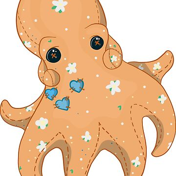 Heart Plushie - Adorable Cutesy Plush Octopus with three Stitched Hearts by Inklingsofgrace