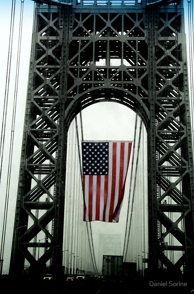 American Flag on George Washington Bridge by Daniel Sorine