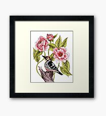 Woodpecker & Peonies - Floral/Bird Design Framed Print