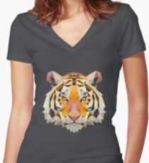 Tiger Polygon Graphic Women's Fitted V-Neck T-Shirt