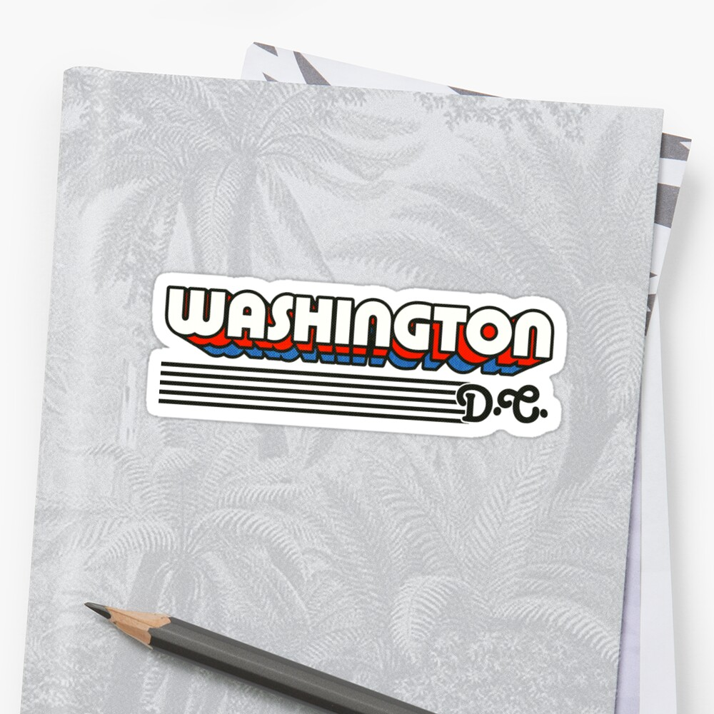 Washington, DC | Rayas retro Pegatinas