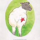 Haruki Murakami's A Wild Sheep Chase // Illustration of a Sheep with a Red Star in Watercolour by arosecast