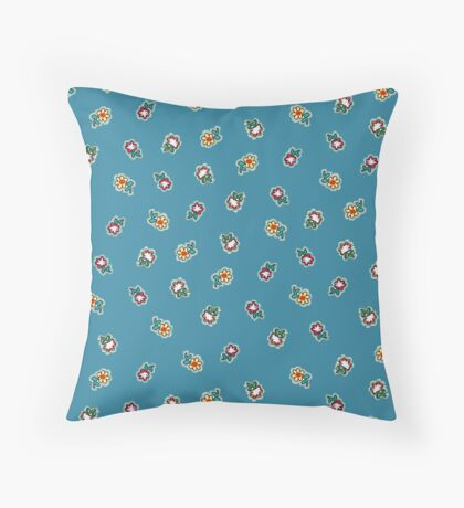 Robins Egg Blue Background with Small Flowers Retro Pattern Throw Pillow