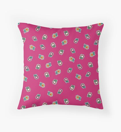 Hot Pink  Background with Small Flowers Retro Pattern Throw Pillow