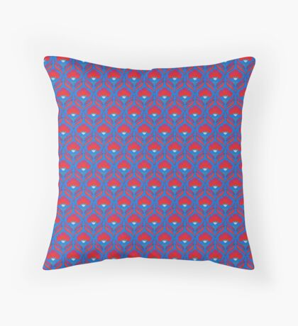 Blue and Red Abstract Floral Retro Pattern Throw Pillow
