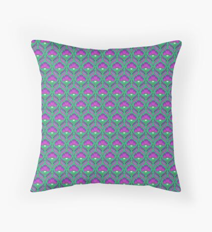 Pink and Green Abstract Floral Retro Pattern Throw Pillow