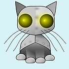 Robot cat with yellow eyes - by Matilda Lorentsson by M-Lorentsson