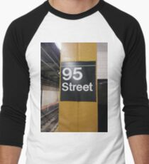 Street, City, Buildings, Photo, Day, Trees, New York, Manhattan, Brooklyn Men's Baseball ¾ T-Shirt