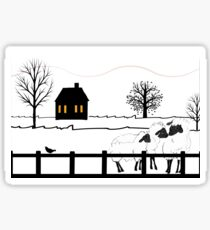 Sheep Primitive Landscape Sticker