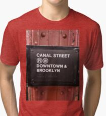 Street, City, Buildings, Photo, Day, Trees, New York, Manhattan, Brooklyn Tri-blend T-Shirt