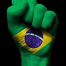 Flagge von Brasilien auf einer angehobenen geballten Faust von jeff bartels