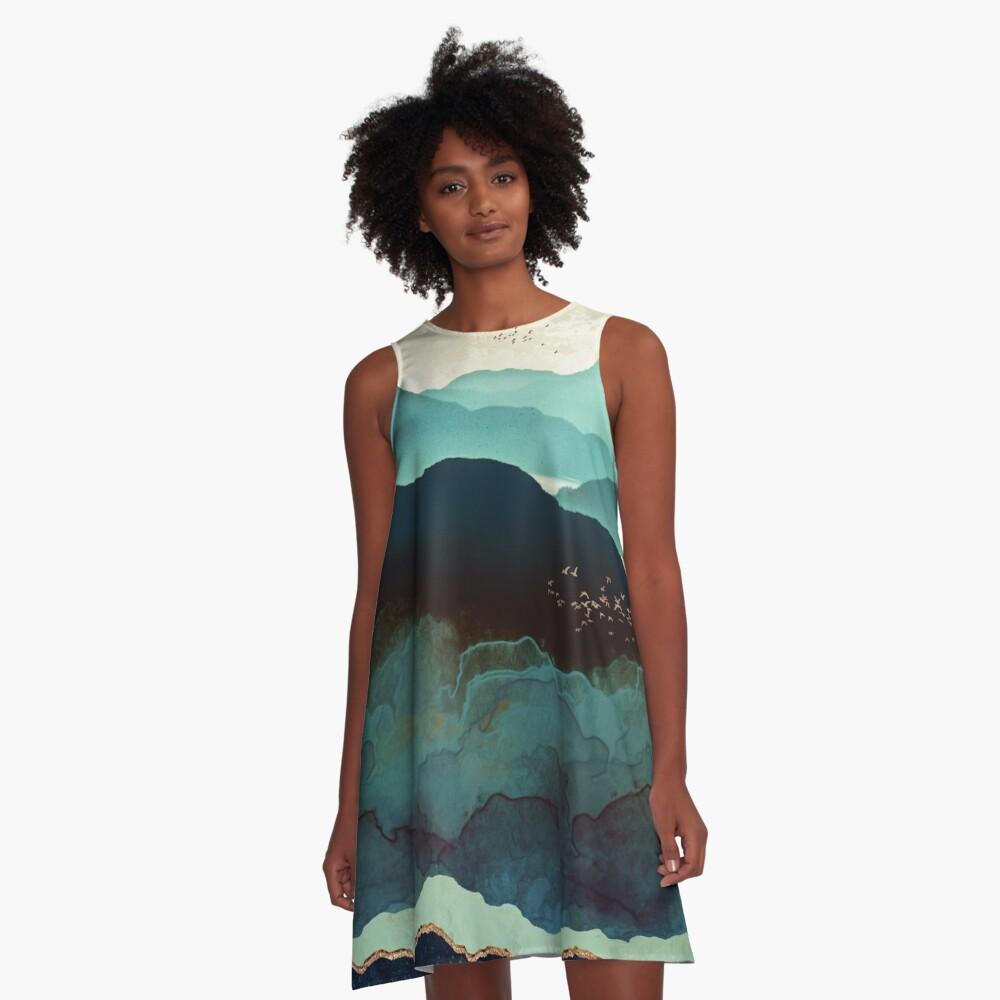 Indigo Mountains A-Line Dress