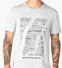 Manhattan New York Digital - Manhattan Map Contoured in Text Men's Premium T-Shirt